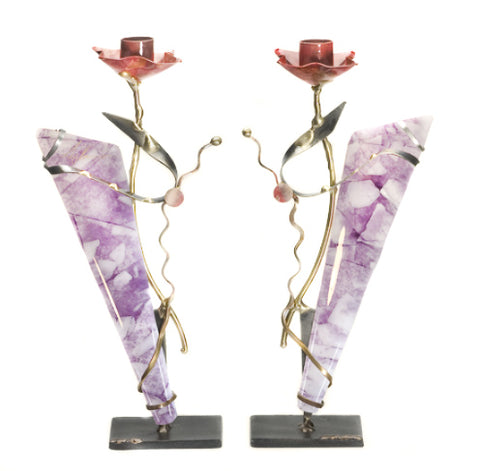 gary rosenthal purple fused glass pair of candleholders