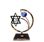 gary rosenthal all metal lasercut star of David sculpture with colorful glass bead