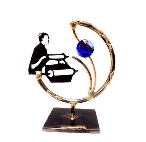 gary rosenthal all metal lasercut bar mitzvah sculpture with colorful glass bead