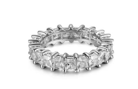 sterling silver princess cut CZ eternity band
