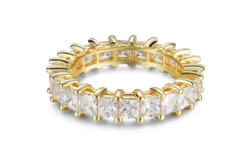 sterling silver yellow plated princess cut cz eternity band