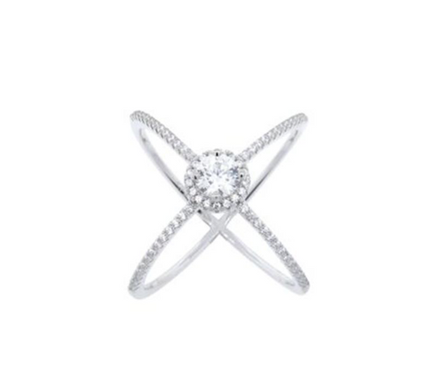 Sterling Silver CZ Halo X Ring