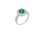Sterling Silver Green Flower Halo CZ Statement Ring
