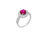 Sterling Silver Red Flower CZ Statement Ring