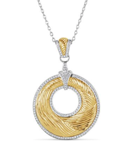 two tone textured gold diamond pendant