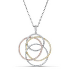tri color overlapping diamond pendant