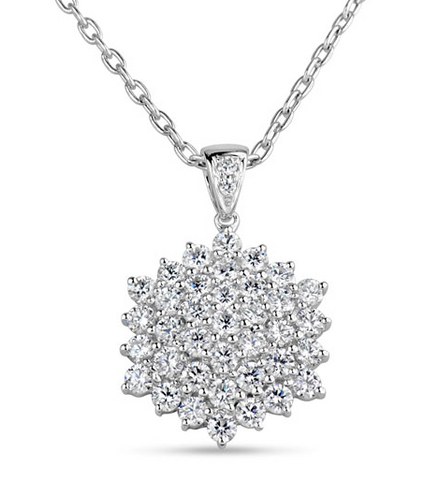 white gold diamond pave cluster pendant