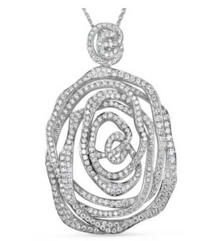 white gold diamond overlap pendant
