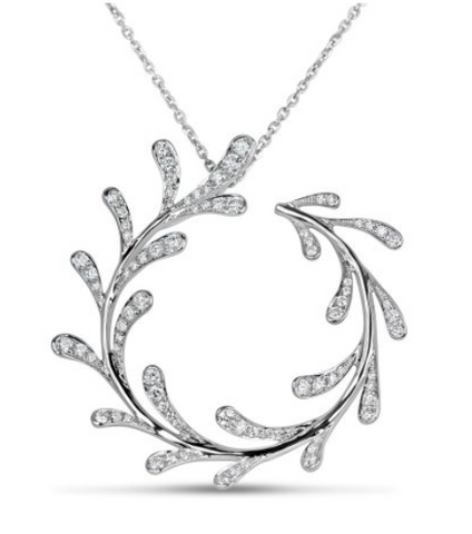white gold diamond vine pendant