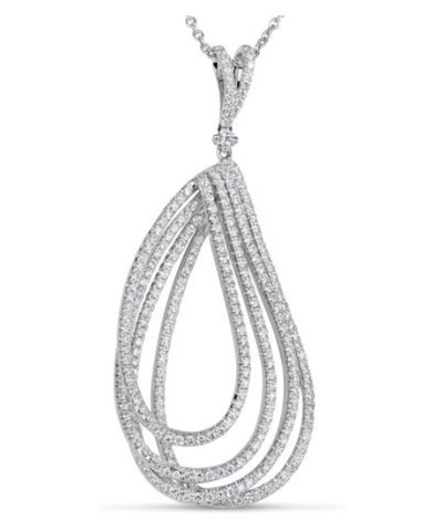 white gold multi row diamond pendant