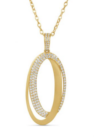 yellow gold brushed oval diamond pendant