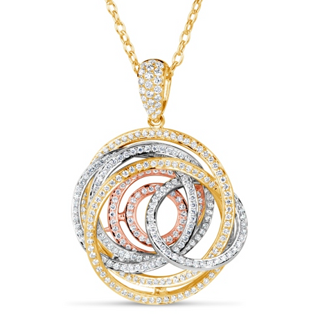 white gold yellow gold rose gold diamond swirl pendant