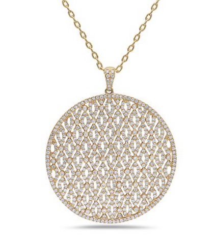 yellow gold diamond statement pendant