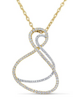 white gold and yellow gold diamond abstract pendant
