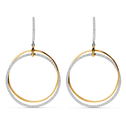 white gold and yellow gold diamond circle earrings