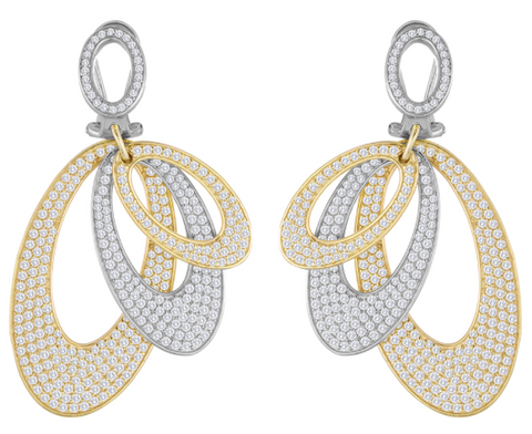 two tone diamond fashion earrings