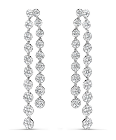 white gold diamond dangling earrings