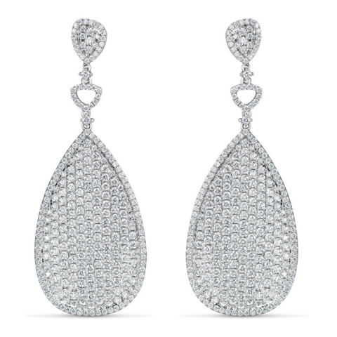 white gold diamond pave drop earrings