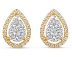 yellow gold pear shaped diamond halo stud earrings