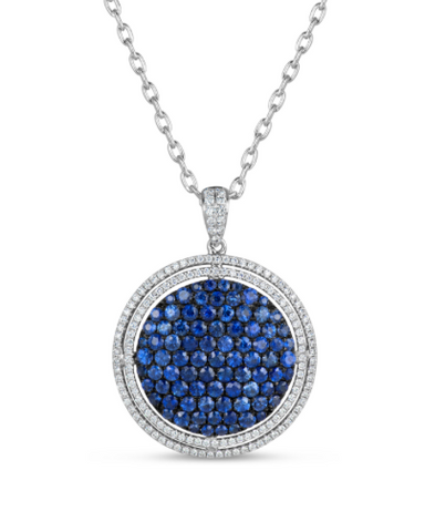 white gold blue sapphire and diamond pendant necklace