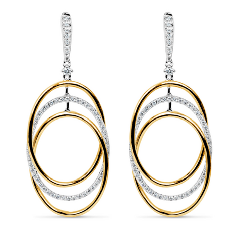 white gold and yellow gold diamond drop earrings