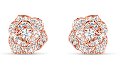 rose gold diamond flower earrings