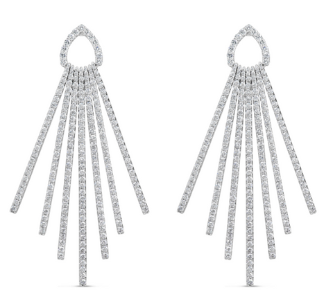 white gold diamond burst earrings