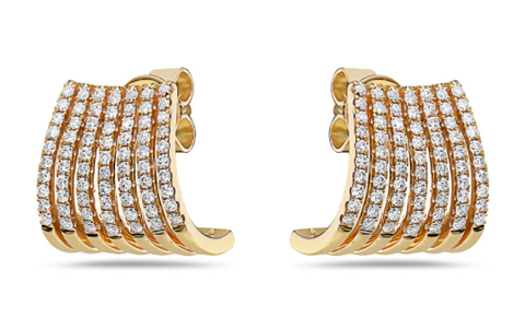 yellow gold diamond ear cuff earrings