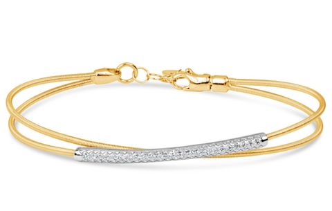 yellow gold diamond tubogas bangle bracelet