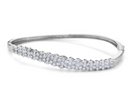 white gold diamond cluster bangle