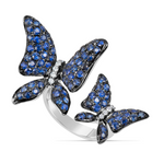 white gold blue sapphire and diamond butterfly ring