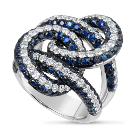 white gold blue sapphire and diamond cocktail ring