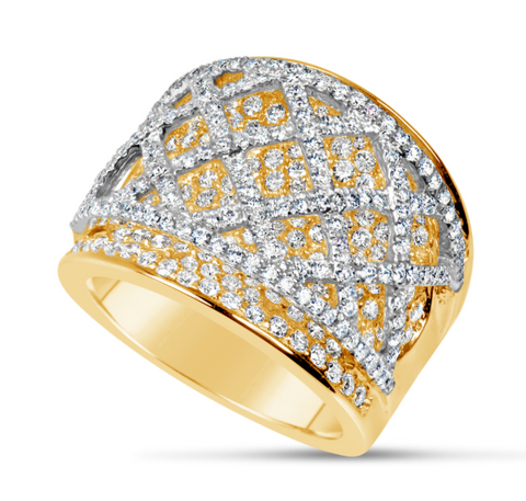 yellow gold and white gold diamond fashion ring