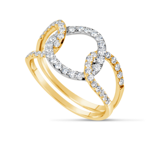white gold and yellow gold diamond loop ring