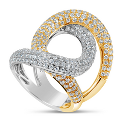 white gold and yellow gold diamond overlap ring