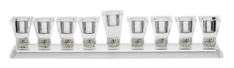 short crystal menorah with rhinestones