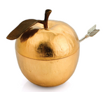 Michael aram goldtone apple honey pot with spoon Rosh Hashanah