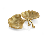 Michael aram gold new leaves ginkgo double compartment dish