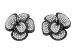 white gold flower earrings with black diamonds and white diamonds