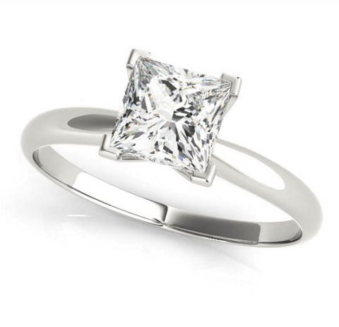 white gold solitaire engagement ring with a princess cut diamond