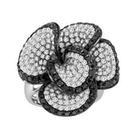 black and white diamond flower ring