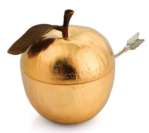 gold Michael aram apple honey pot