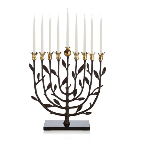 Michael aram pomegranate menorah with candles