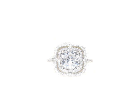 sterling silver cushion cut CZ double halo engagement ring