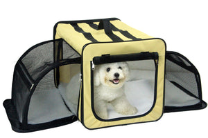 Pet Life Capacious Dual-Expandable Wire Folding Lightweight Collapsible Travel Pet Dog Crate - US │ The World Of Giulio Pet Supplies & Products