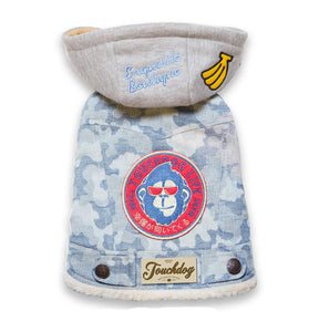 TouchdogOutlaw Designer Embellished Retro-Denim Pet Dog Hooded Jacket Coat - US │ The World Of Giulio Pet Supplies & Products