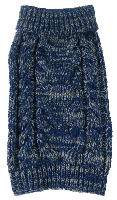 Classic True Blue Heavy Cable Knitted Ribbed Fashion Dog Sweater - US │ The World Of Giulio Pet Supplies & Products
