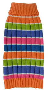Tutti-Beauty Rainbow Heavy Cable Knitted Ribbed Designer Turtle Neck Dog Sweater - US │ The World Of Giulio Pet Supplies & Products