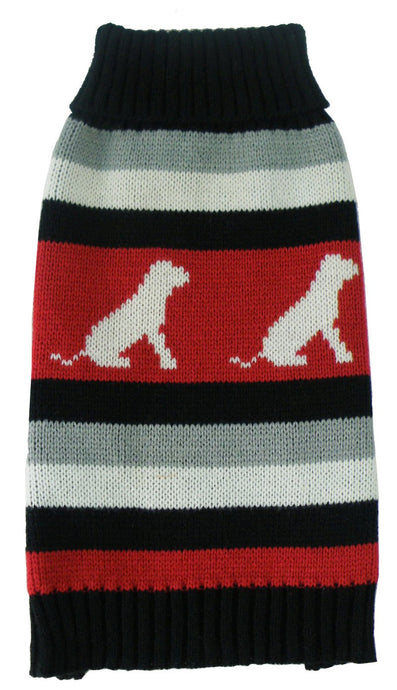 Dog Patterned Stripe Fashion Ribbed Turtle Neck Pet Sweater - US │ The World Of Giulio Pet Supplies & Products