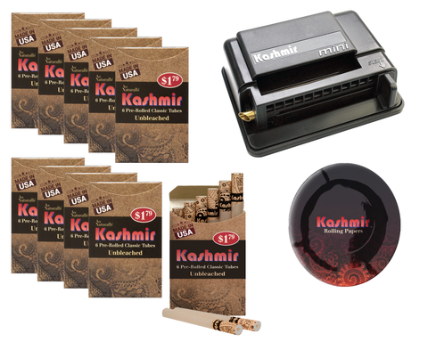 Kashmir Pre Rolled Cigarettes Tubes (10) Unbleached with Kashmir Mini Rolling Cigarette Machine with Kashmir Ash Tray